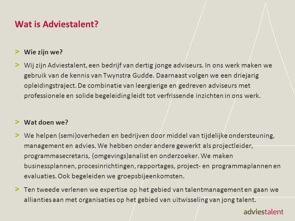 Wat is Adviestalent? Wie zijn we? Wij zijn Adviestalent, een bedrijf van dertig jonge adviseurs. In ons werk maken we gebruik van de kennis van Twynst