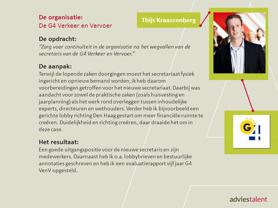 De organisatie: Ministerie van Sociale Zaken en Werkgelegenheid (SZW) De opdracht: Ondersteun het projectteam Jeugdwerkloosheid bij de resultaatverantwoording van arbeidsmarktregio's aan SZW. De aanpak: Met alle arbeidsmarktregio's in NL zijn gesprekken gevoerd om ze te helpen met het invullen van het verantwoordingsformat.