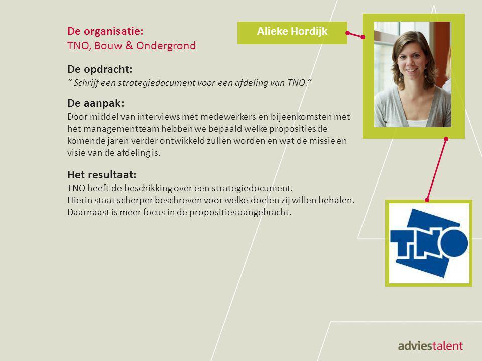 """De organisatie: TNO, Bouw & Ondergrond De opdracht: """" Schrijf een strategiedocument voor een afdeling van TNO."""" De aanpak: Door middel van interviews"""