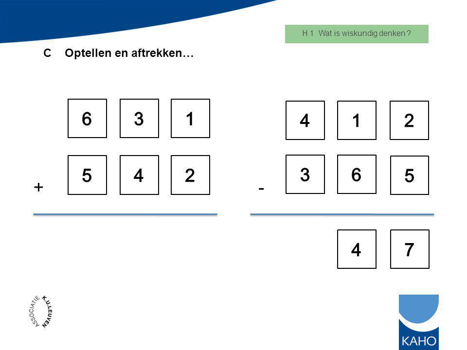 H 1 Wat is wiskundig denken ? C Optellen en aftrekken… +-