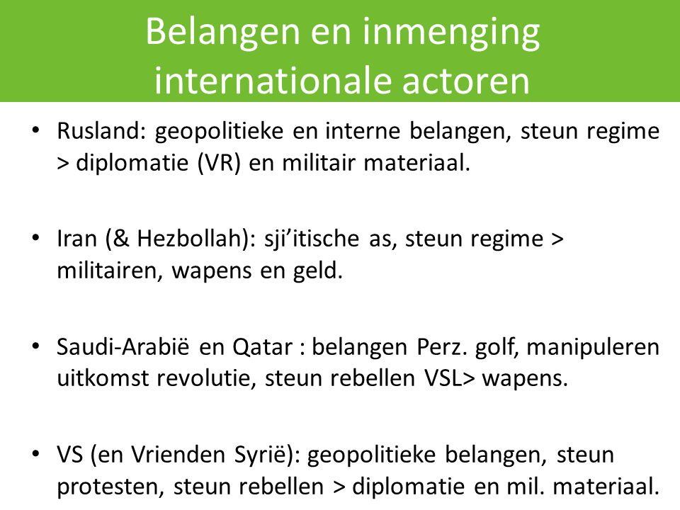 Belangen en inmenging internationale actoren Rusland: geopolitieke en interne belangen, steun regime > diplomatie (VR) en militair materiaal.