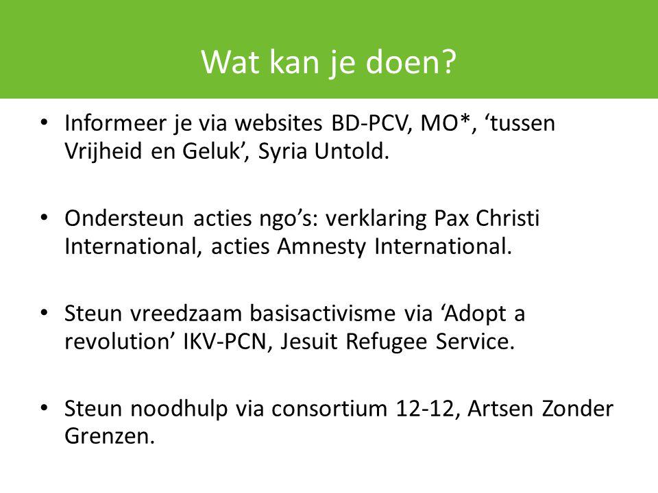 Wat kan je doen? Informeer je via websites BD-PCV, MO*, 'tussen Vrijheid en Geluk', Syria Untold. Ondersteun acties ngo's: verklaring Pax Christi Inte
