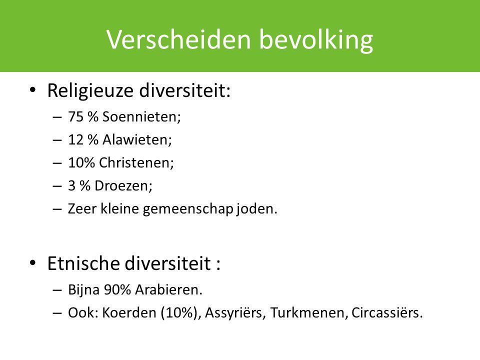 Verscheiden bevolking Religieuze diversiteit: – 75 % Soennieten; – 12 % Alawieten; – 10% Christenen; – 3 % Droezen; – Zeer kleine gemeenschap joden. E