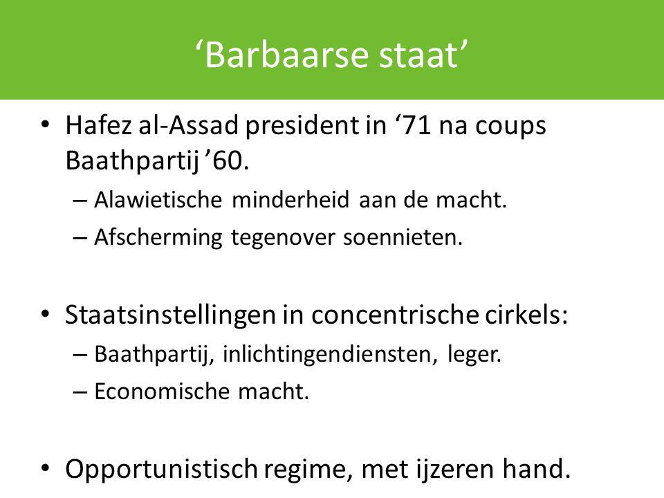 'Barbaarse staat' Hafez al-Assad president in '71 na coups Baathpartij '60. – Alawietische minderheid aan de macht. – Afscherming tegenover soennieten