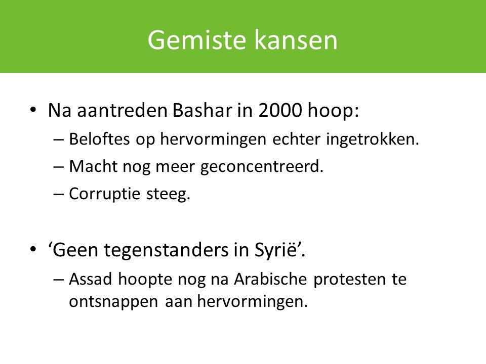 Gemiste kansen Na aantreden Bashar in 2000 hoop: – Beloftes op hervormingen echter ingetrokken. – Macht nog meer geconcentreerd. – Corruptie steeg. 'G