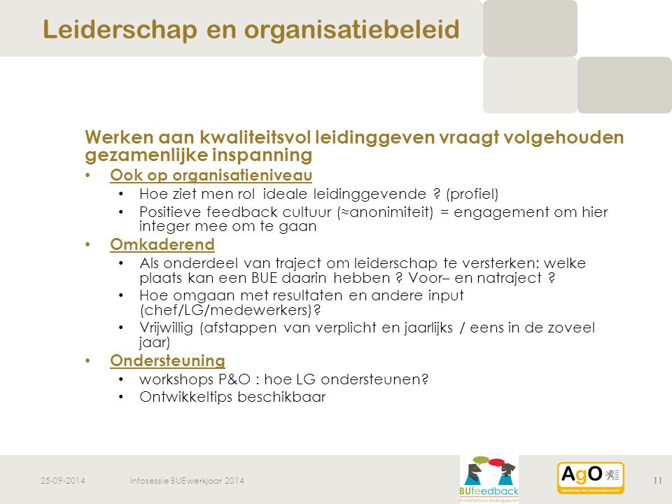 25-09-2014Infosessie BUE werkjaar 201411 Werken aan kwaliteitsvol leidinggeven vraagt volgehouden gezamenlijke inspanning Ook op organisatieniveau Hoe ziet men rol ideale leidinggevende .