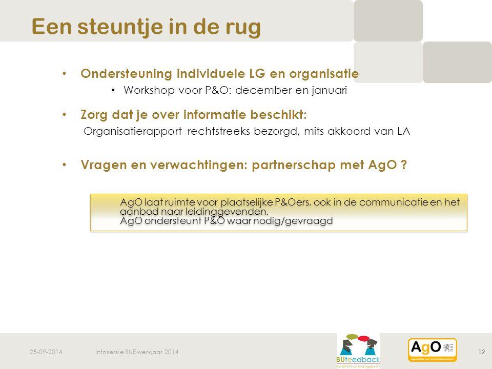 25-09-2014Infosessie BUE werkjaar 201412 Ondersteuning individuele LG en organisatie Workshop voor P&O: december en januari Zorg dat je over informatie beschikt: Organisatierapport rechtstreeks bezorgd, mits akkoord van LA Vragen en verwachtingen: partnerschap met AgO .