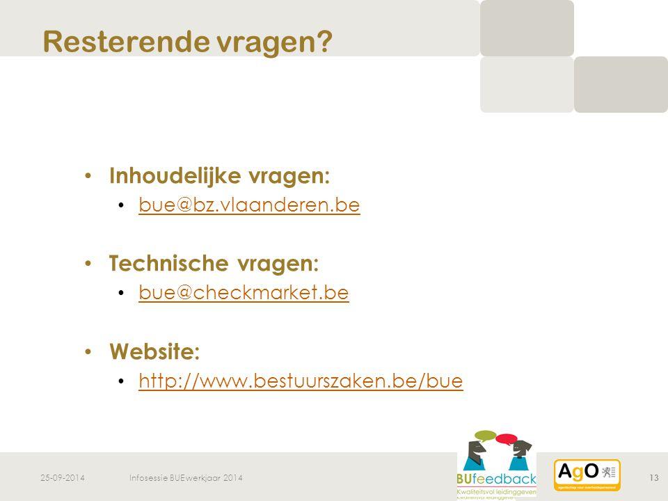 25-09-2014Infosessie BUE werkjaar 201413 Inhoudelijke vragen: bue@bz.vlaanderen.be Technische vragen: bue@checkmarket.be Website: http://www.bestuurszaken.be/bue Resterende vragen