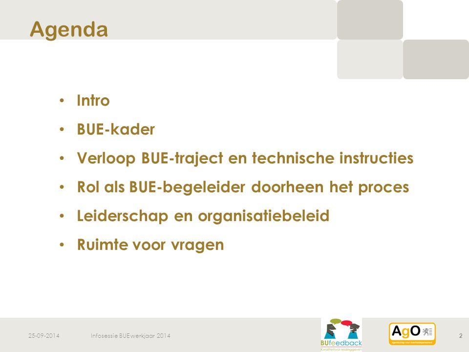 25-09-2014Infosessie BUE werkjaar 20142 Intro BUE-kader Verloop BUE-traject en technische instructies Rol als BUE-begeleider doorheen het proces Leide