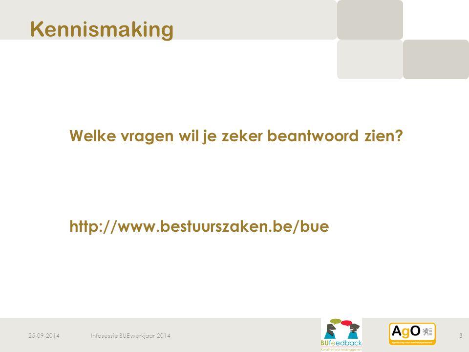 25-09-2014Infosessie BUE werkjaar 20143 Welke vragen wil je zeker beantwoord zien? http://www.bestuurszaken.be/bue Kennismaking
