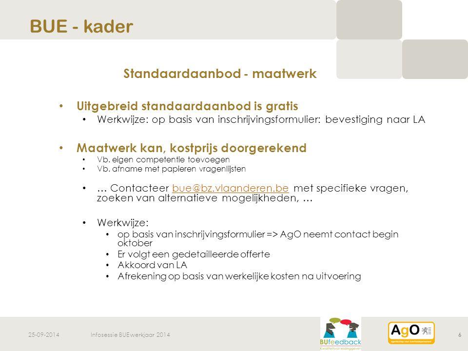 25-09-2014Infosessie BUE werkjaar 20146 Standaardaanbod - maatwerk Uitgebreid standaardaanbod is gratis Werkwijze: op basis van inschrijvingsformulier