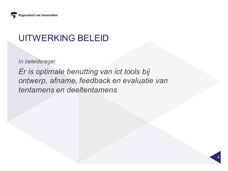 4 In beleidsregel: Er is optimale benutting van ict tools bij ontwerp, afname, feedback en evaluatie van tentamens en deeltentamens UITWERKING BELEID