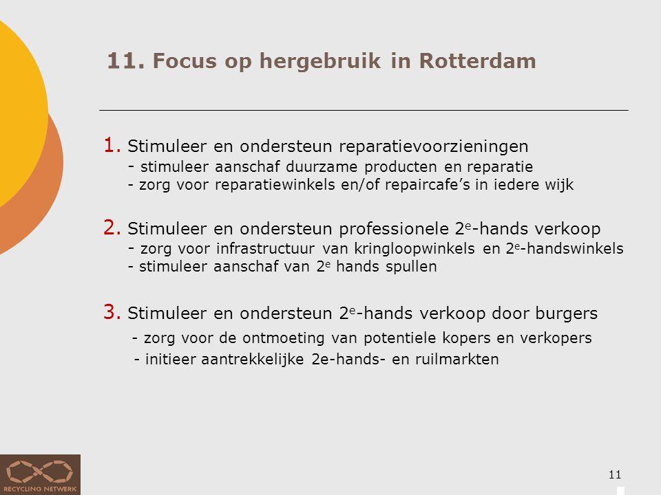11. Focus op hergebruik in Rotterdam 1. Stimuleer en ondersteun reparatievoorzieningen - stimuleer aanschaf duurzame producten en reparatie - zorg voo