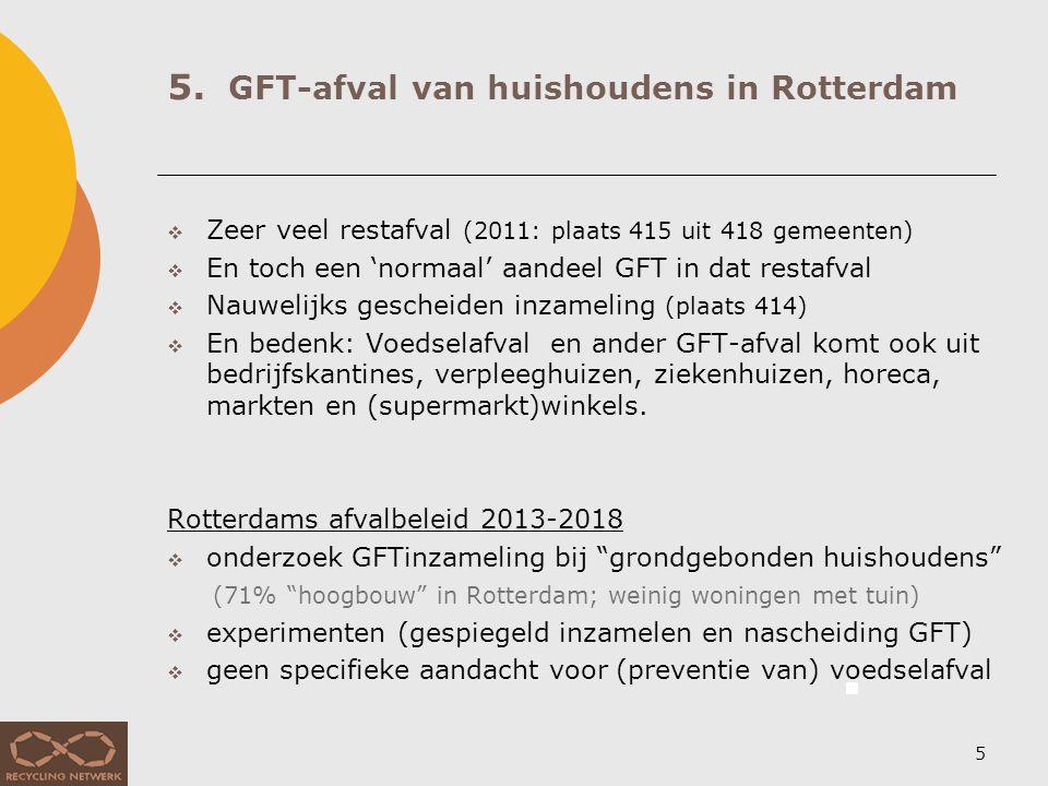 5. GFT-afval van huishoudens in Rotterdam 5  Zeer veel restafval (2011: plaats 415 uit 418 gemeenten)  En toch een 'normaal' aandeel GFT in dat rest