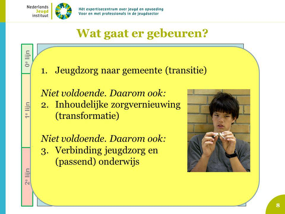 8 Voorzieningen gewone opgroeien en opvoeden jeugdigen Signalering opgroei- en opvoedproblemen Indicatie voor specialistische hulp / maatregel Jeugd-GGZ (AWBZ pgb zorgverz.) Vrijwillige J&O-hulp: (ambulant, dag/nacht, pleegzorg) Vroeginterventie, lichte pedagogische ondersteuning Aanbod van algemene en selectieve preventieve programma's Jeugd- Bescherming & Reclassering Zorg voor Jeugd-LVG (AWBZ … etc) Speciaal onder- wijs (Cluster IV ) 0 e lijn 1 e lijn 2 e lijn Wat gaat er gebeuren.