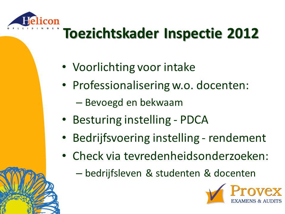 Toezichtskader Inspectie 2012 Voorlichting voor intake Professionalisering w.o.