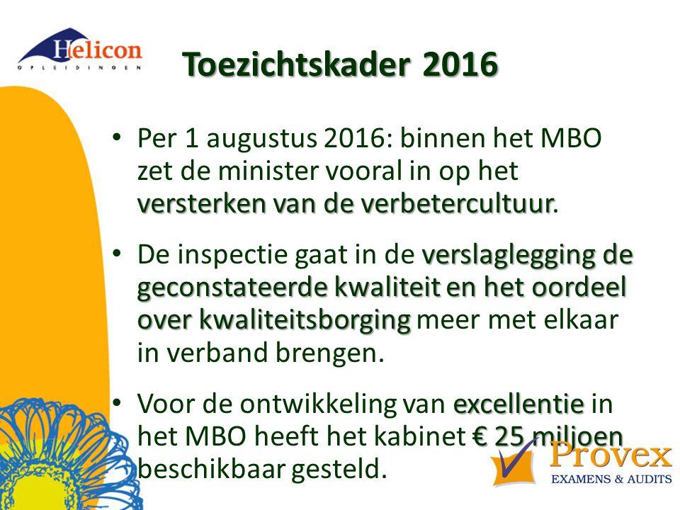 Toezichtskader 2016 versterken van de verbetercultuur Per 1 augustus 2016: binnen het MBO zet de minister vooral in op het versterken van de verbetercultuur.