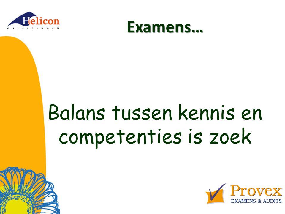 Examens… Balans tussen kennis en competenties is zoek