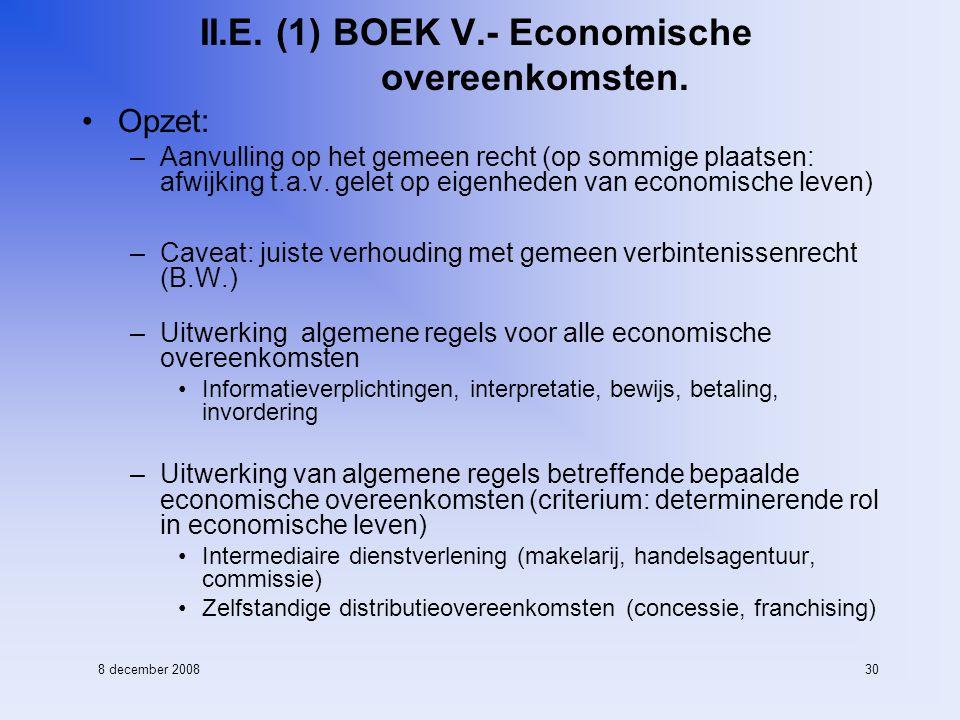 8 december 200830 II.E. (1) BOEK V.- Economische overeenkomsten.