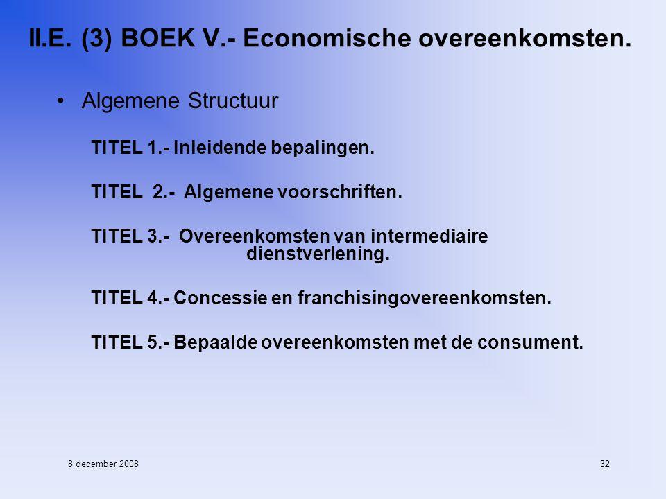 8 december 200832 II.E. (3) BOEK V.- Economische overeenkomsten.