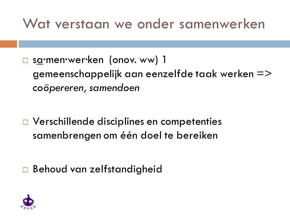 Wat verstaan we onder samenwerken  sa·men·wer·ken (onov. ww) 1 gemeenschappelijk aan eenzelfde taak werken => coöpereren, samendoen  Verschillende d