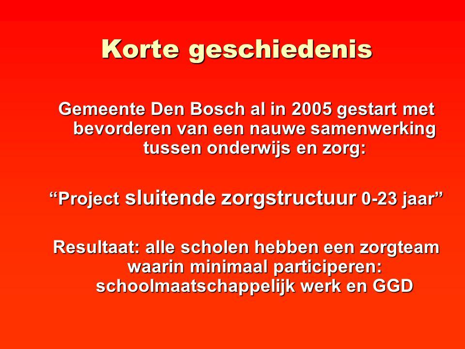 """Korte geschiedenis Gemeente Den Bosch al in 2005 gestart met bevorderen van een nauwe samenwerking tussen onderwijs en zorg: """"Project sluitende zorgst"""