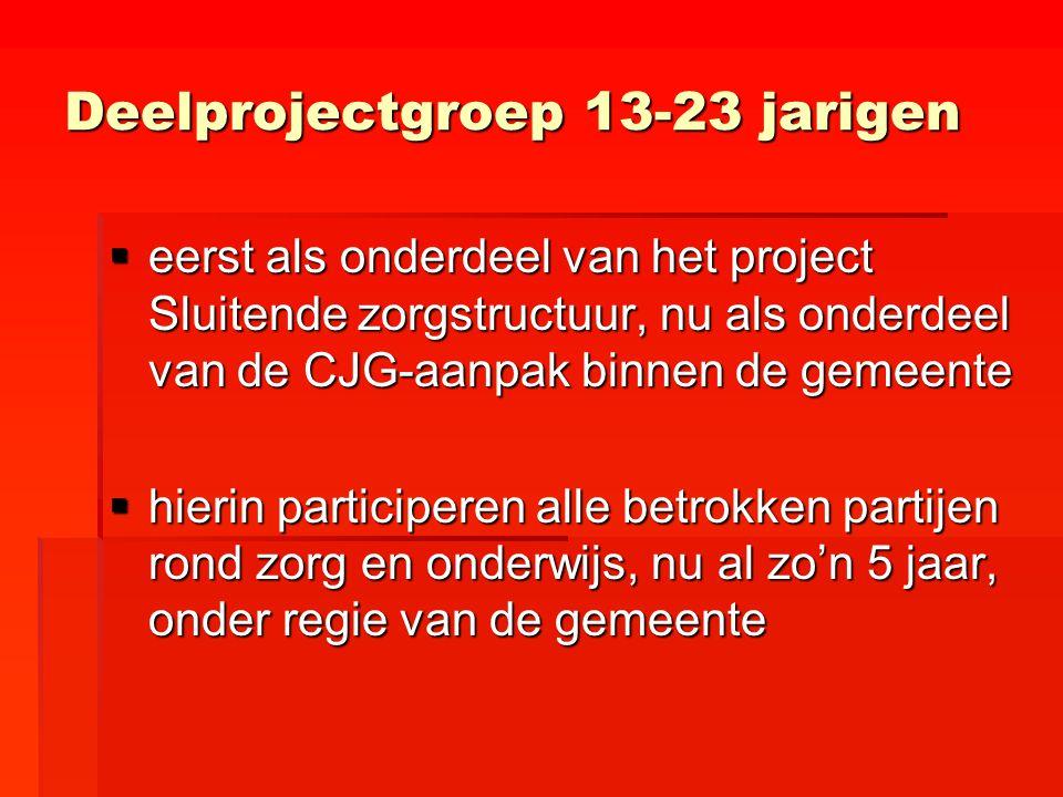 Deelprojectgroep 13-23 jarigen  eerst als onderdeel van het project Sluitende zorgstructuur, nu als onderdeel van de CJG-aanpak binnen de gemeente 