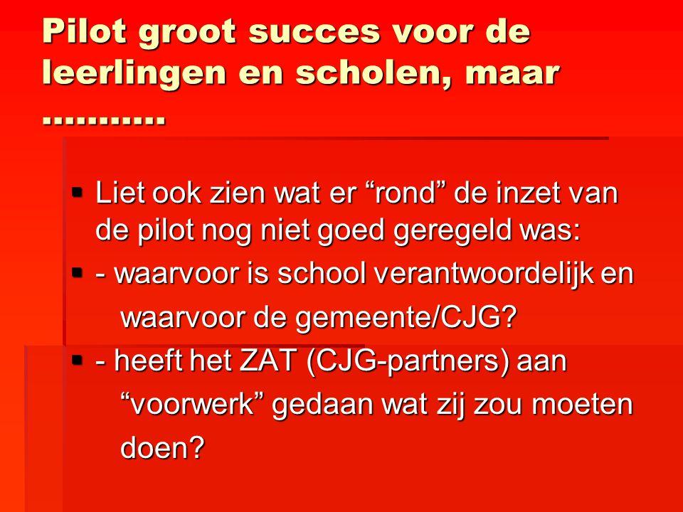 """Pilot groot succes voor de leerlingen en scholen, maar ………..  Liet ook zien wat er """"rond"""" de inzet van de pilot nog niet goed geregeld was:  - waarv"""