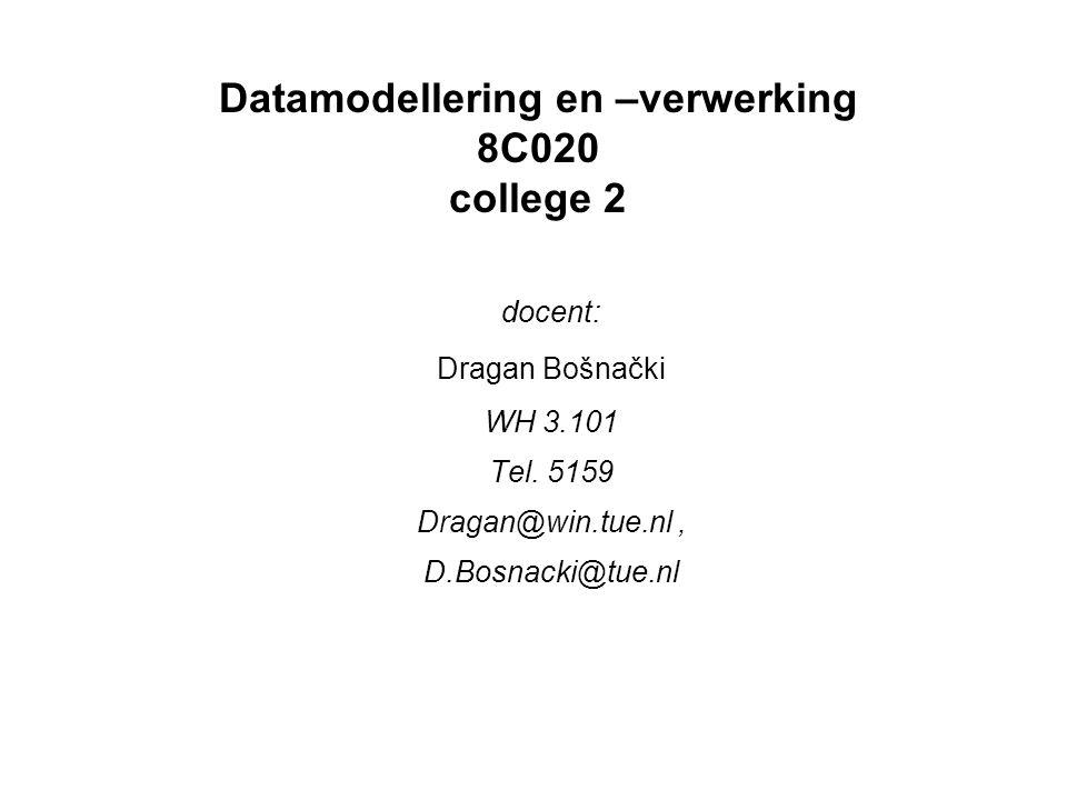 Datamodellering en –verwerking 8C020 college 2 docent: Dragan Bošnački WH 3.101 Tel. 5159 Dragan@win.tue.nl, D.Bosnacki@tue.nl