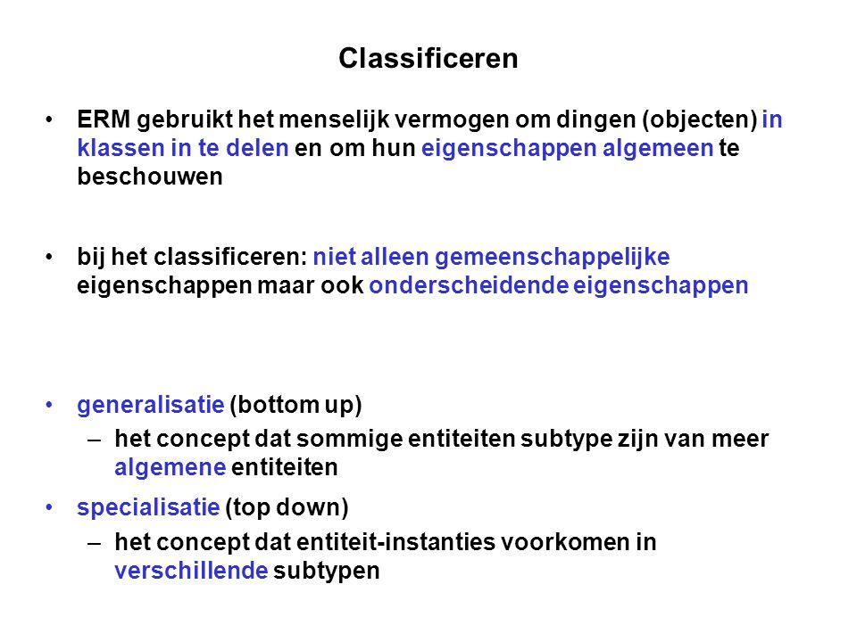 Classificeren ERM gebruikt het menselijk vermogen om dingen (objecten) in klassen in te delen en om hun eigenschappen algemeen te beschouwen bij het c