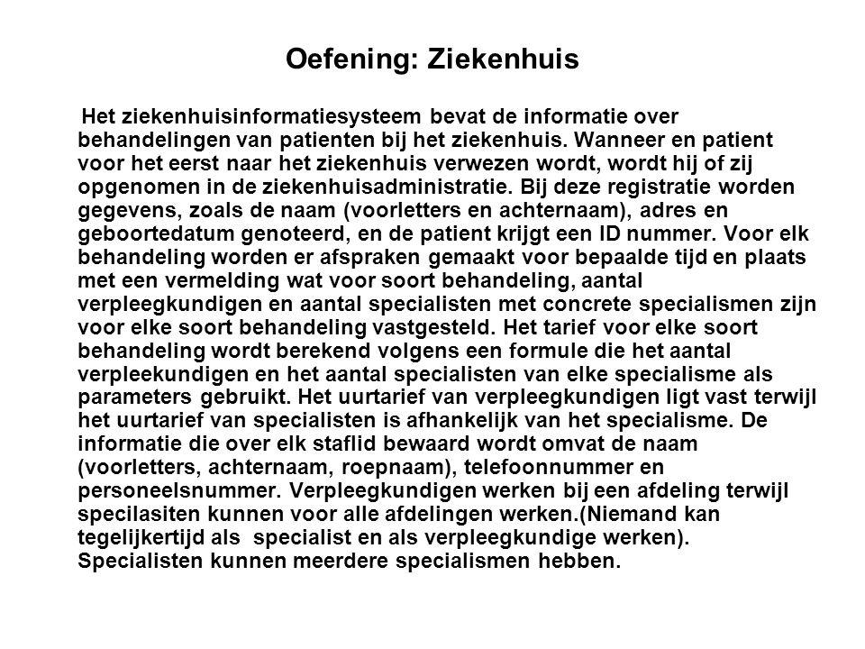 Oefening: Ziekenhuis Het ziekenhuisinformatiesysteem bevat de informatie over behandelingen van patienten bij het ziekenhuis. Wanneer en patient voor