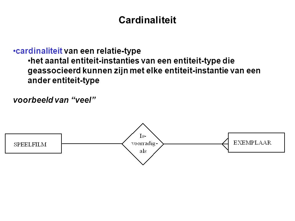 Cardinaliteit cardinaliteit van een relatie-type het aantal entiteit-instanties van een entiteit-type die geassocieerd kunnen zijn met elke entiteit-i