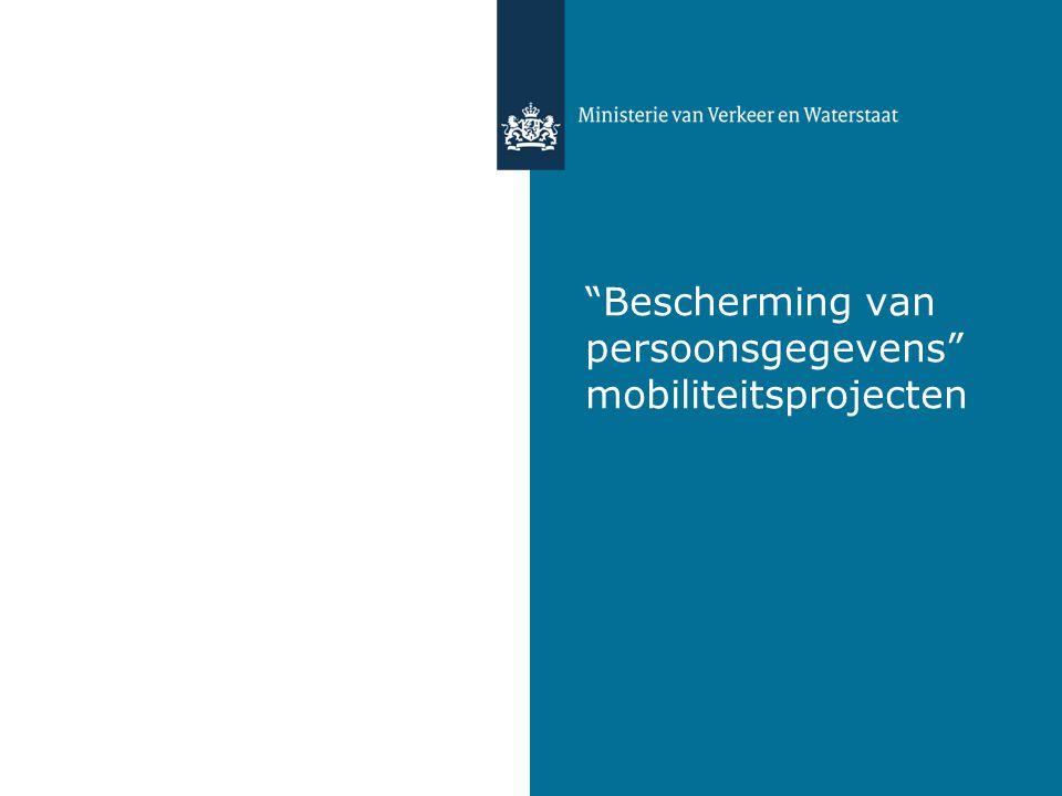 """""""Bescherming van persoonsgegevens"""" mobiliteitsprojecten"""