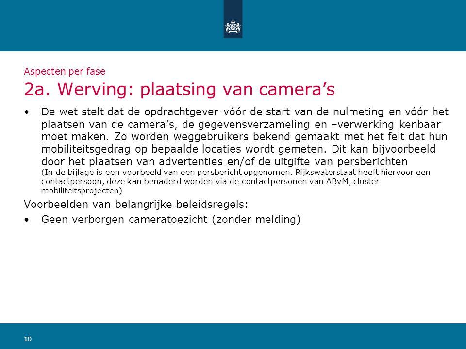 10 Aspecten per fase 2a. Werving: plaatsing van camera's De wet stelt dat de opdrachtgever vóór de start van de nulmeting en vóór het plaatsen van de