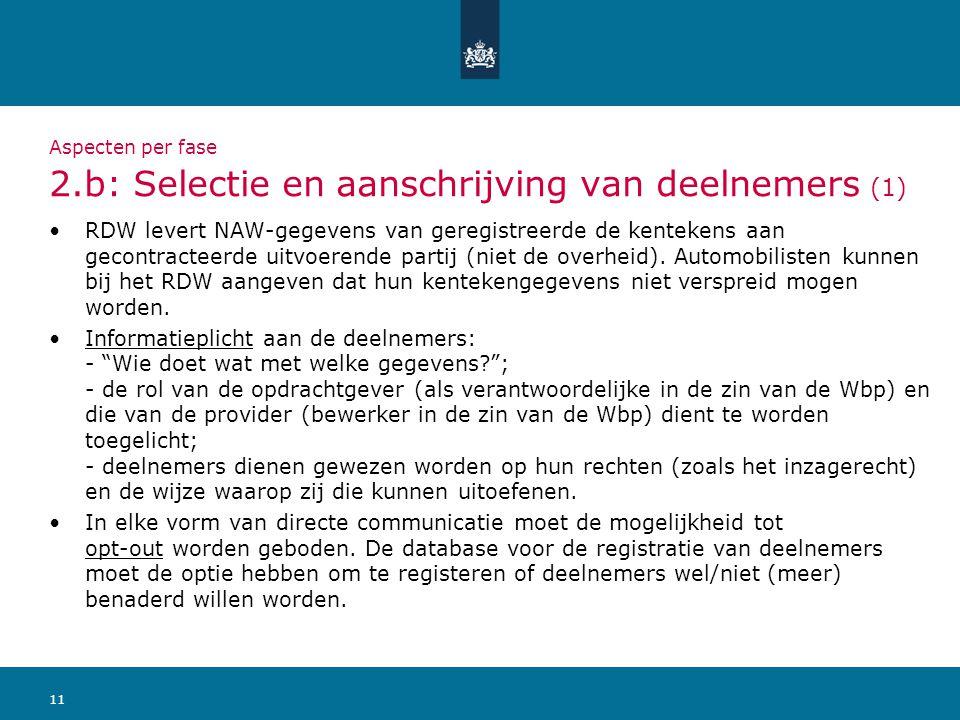 11 Aspecten per fase 2.b: Selectie en aanschrijving van deelnemers (1) RDW levert NAW-gegevens van geregistreerde de kentekens aan gecontracteerde uit