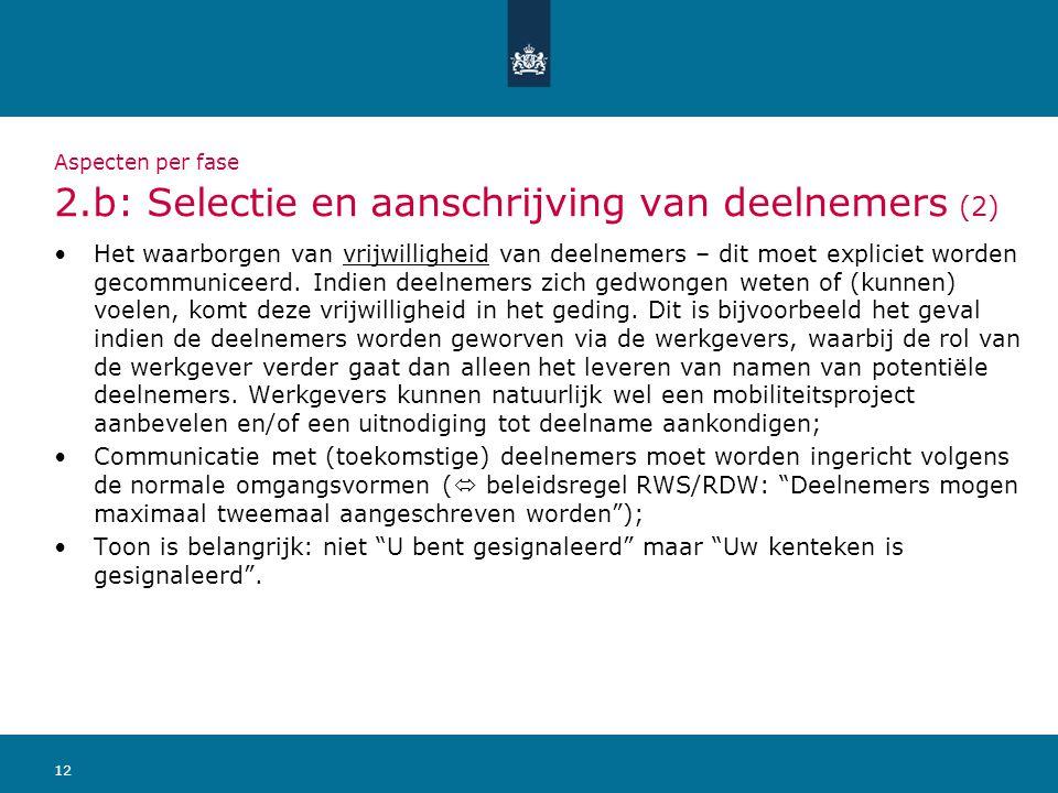 12 Aspecten per fase 2.b: Selectie en aanschrijving van deelnemers (2) Het waarborgen van vrijwilligheid van deelnemers – dit moet expliciet worden ge