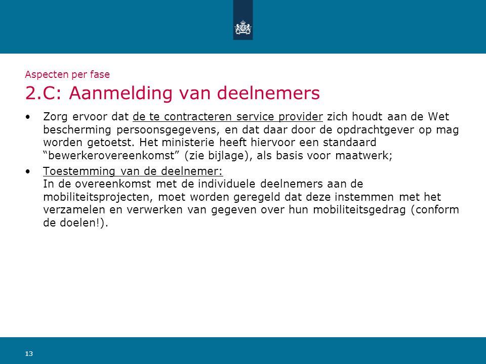 13 Aspecten per fase 2.C: Aanmelding van deelnemers Zorg ervoor dat de te contracteren service provider zich houdt aan de Wet bescherming persoonsgege