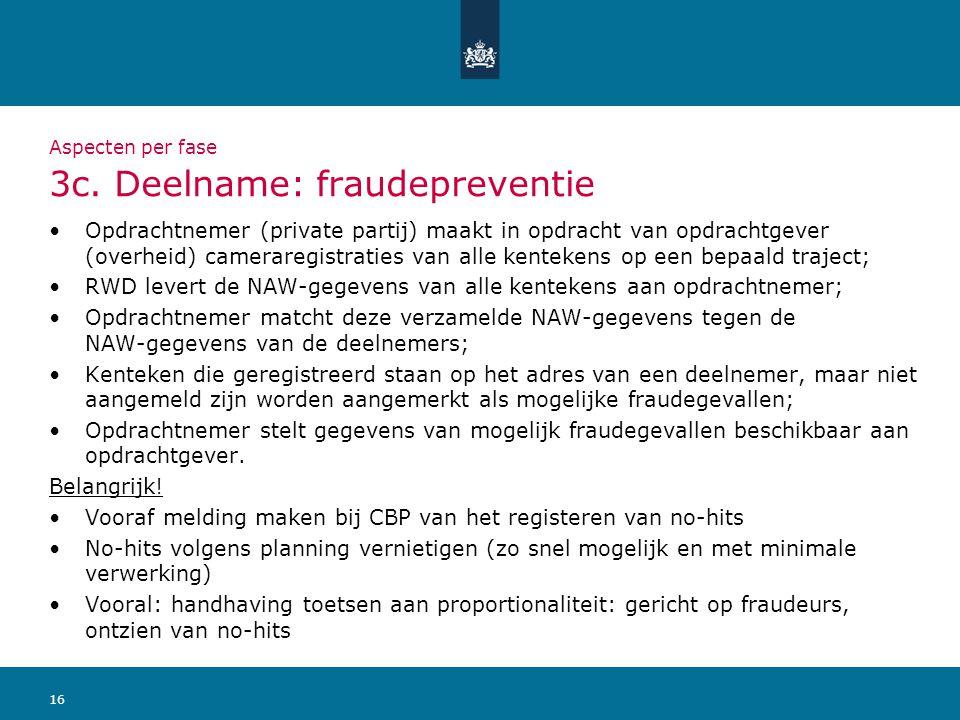 16 Aspecten per fase 3c. Deelname: fraudepreventie Opdrachtnemer (private partij) maakt in opdracht van opdrachtgever (overheid) cameraregistraties va
