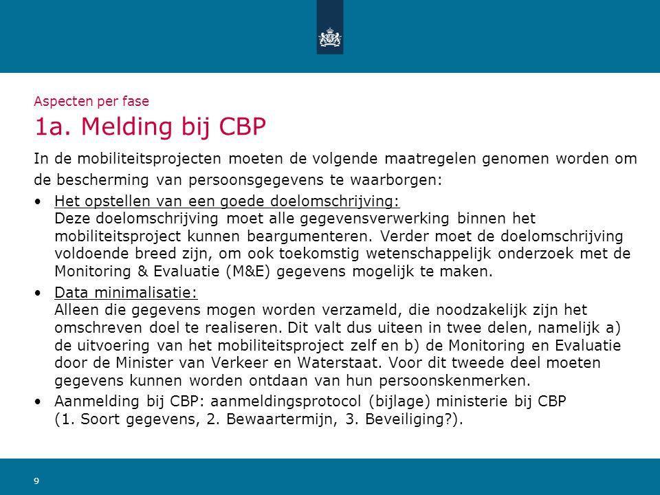 9 Aspecten per fase 1a. Melding bij CBP In de mobiliteitsprojecten moeten de volgende maatregelen genomen worden om de bescherming van persoonsgegeven