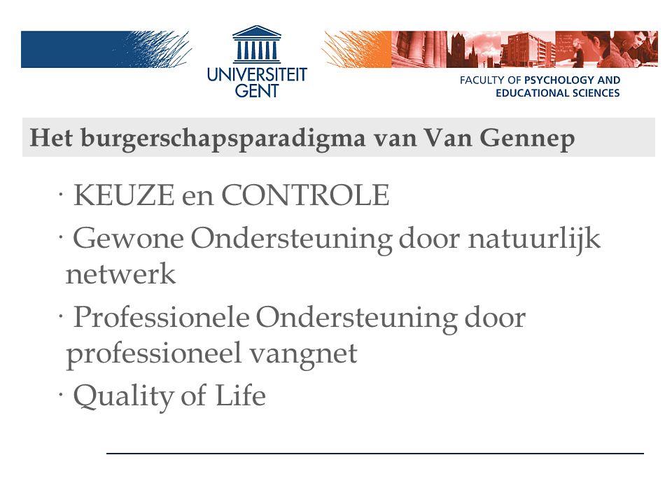 Het burgerschapsparadigma van Van Gennep · KEUZE en CONTROLE · Gewone Ondersteuning door natuurlijk netwerk · Professionele Ondersteuning door profess