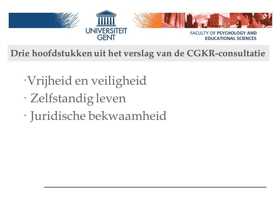 Drie hoofdstukken uit het verslag van de CGKR-consultatie ·Vrijheid en veiligheid · Zelfstandig leven · Juridische bekwaamheid
