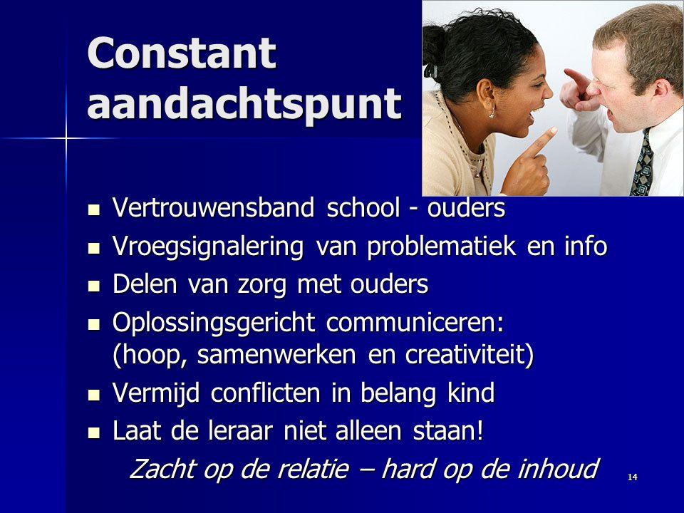 Constant aandachtspunt Vertrouwensband school - ouders Vertrouwensband school - ouders Vroegsignalering van problematiek en info Vroegsignalering van