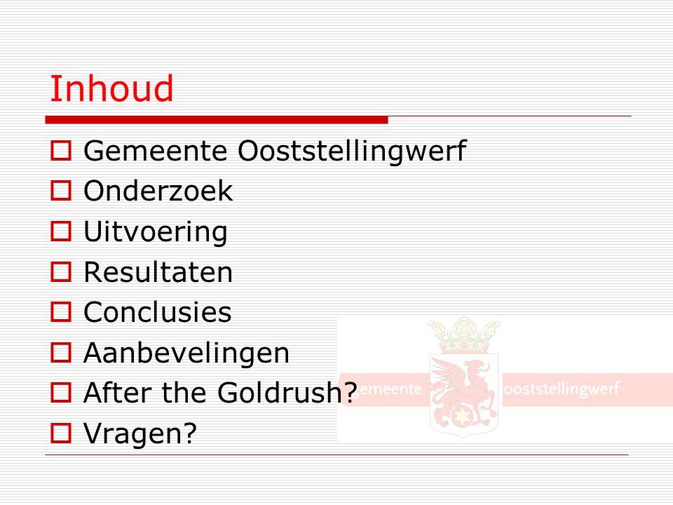 Inhoud  Gemeente Ooststellingwerf  Onderzoek  Uitvoering  Resultaten  Conclusies  Aanbevelingen  After the Goldrush?  Vragen?