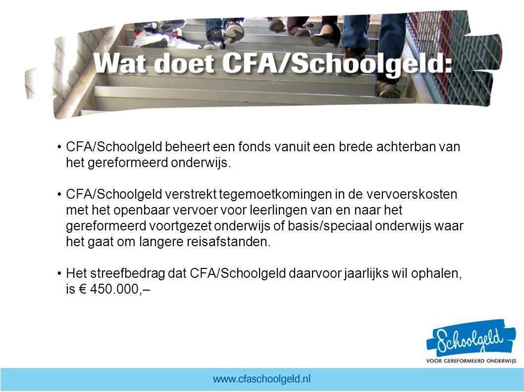 CFA/Schoolgeld beheert een fonds vanuit een brede achterban van het gereformeerd onderwijs.