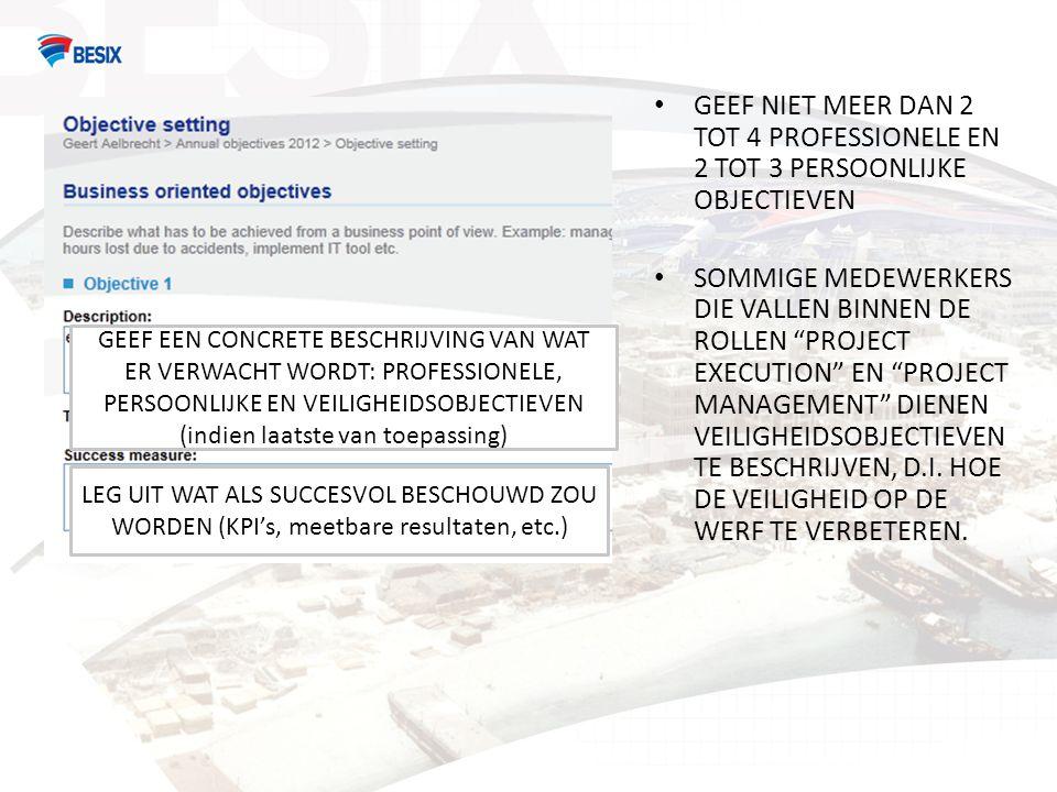 GEEF EEN CONCRETE BESCHRIJVING VAN WAT ER VERWACHT WORDT: PROFESSIONELE, PERSOONLIJKE EN VEILIGHEIDSOBJECTIEVEN (indien laatste van toepassing) LEG UI