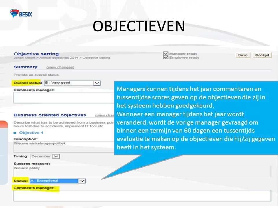 OBJECTIEVEN Managers kunnen tijdens het jaar commentaren en tussentijdse scores geven op de objectieven die zij in het systeem hebben goedgekeurd. Wan