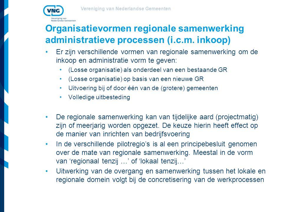 Vereniging van Nederlandse Gemeenten Organisatievormen regionale samenwerking administratieve processen (i.c.m.
