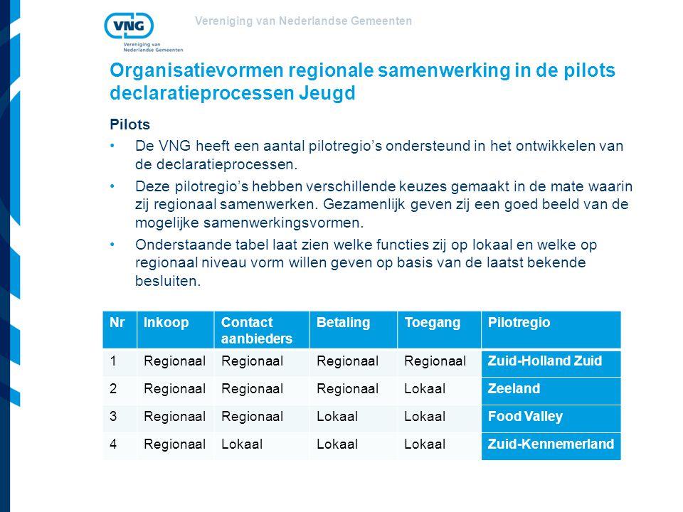 Vereniging van Nederlandse Gemeenten Organisatievormen regionale samenwerking in de pilots declaratieprocessen Jeugd Pilots De VNG heeft een aantal pilotregio's ondersteund in het ontwikkelen van de declaratieprocessen.