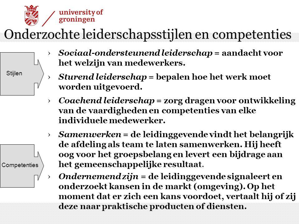 Onderzochte leiderschapsstijlen en competenties ›Sociaal-ondersteunend leiderschap = aandacht voor het welzijn van medewerkers. ›Sturend leiderschap =