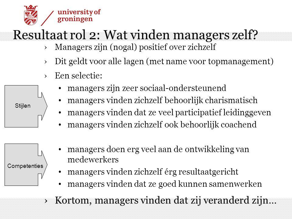 Resultaat rol 2: Wat vinden managers zelf? ›Managers zijn (nogal) positief over zichzelf ›Dit geldt voor alle lagen (met name voor topmanagement) ›Een